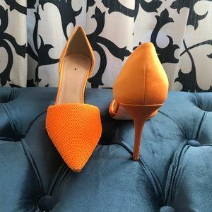 J. Crew Neon Orange Sequin & Satin D'Orsay Pumps